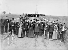William Tipton shot this image of the dedication of the Michigan Cavalry Brigade monument at East Cavalry Field at Gettysburg on June 12, 1889. While Michigan Gov. Cyrus Luce (large top hat) appears with veterans and presumably their family members in the center foreground, another group apparently is listening to a speaker in the background at the monument.