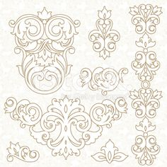 Vector set of ornament in Victorian style. royalty-free vector art illustration