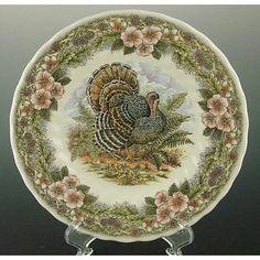 Queen\u0027s Myott by Churchill SALAD / Side Buffet Plates Thanksgiving Turkey Multi-Color Set of 12. \  & Johnson Brothers \