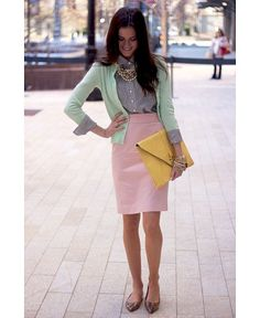 outfits skirts, pastel, office fashion, the office, fashion styles, office work outfits, professional wear, pencil skirts, office outfits