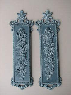 Upcycled Vintage Wall Decor - Fruit & Floral Syroco Pair - PRICE REDUCED