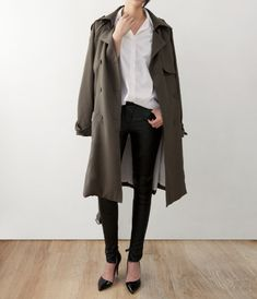 d'orsay heels with a classic ensemble - love the oversized coat
