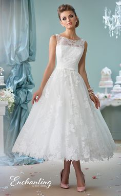 Encahnting By Mon Cheri Wedding Dress Style 116136 Tea Length Dresses Knee