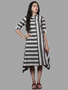 Black Ivory Grey Handwoven Double Ikat Full Stripes Asymmetrical Dress - D5176001 Linen Dresses, Cotton Dresses, Kurti Sleeves Design, Buy Dresses Online, Kurti Designs Party Wear, Maxi Gowns, Asymmetrical Dress, Western Wear, Ikat