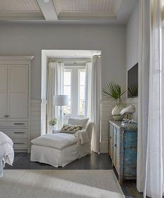 Bedroom Reading Corner. Bedroom nook reading corner. Inviting reading corner nook with white chaise lounge. Windows are dressed in white cotton curtains. #bedroom #readingcorner #bedroomnook bedroom-nook