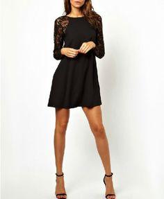 Lace Long Sleeves Wavy Edhes Dress - Clothing
