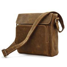 Vintage Handmade Genuine Crazy Horse Leather Messenger Bag Satchel / Ipad Bag in Brown