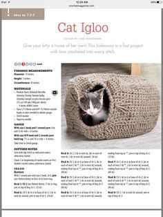 Crochet cat bed pattern crafts Ideas for 2019 Gato Crochet, Crochet Cat Toys, Crochet Gratis, Crochet Home, Crochet Animals, Free Crochet, Diy Crochet Cat Bed, Chunky Crochet, Crochet Stitches