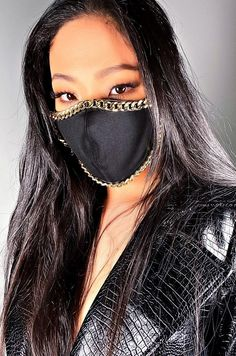 """""""><b>FINAL SALE, NO EXCEPTIONS</b></span> The Chain Fashion Face Cover features gold chain detailing. *These masks are purely accessories and do not provide medical protection. Nylons, Diy Face Mask, Face Masks, Fashion Face Mask, Mask Design, Sunglasses Women, Etsy, Shipping Packaging, Protective Mask"""