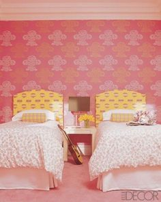 Pink Girl Bedroom With Bone Inlay Nightstands: 33 Wonderful Girls Room Design Ideas Pink Bedroom For Girls, Teenage Girl Bedrooms, Yellow Bedrooms, Girls Room Design, Girl Bedroom Designs, Childrens Bedroom Wallpaper, Tidy Room, Girl Decor, Home Decor Trends