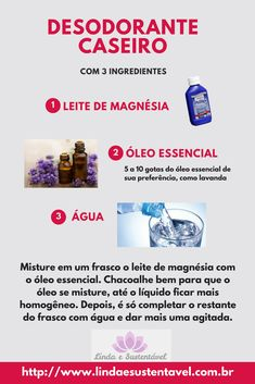 Recipe for homemade deodorant that really work.- Receita para desodorante caseiro, que realmente funcionam. Simples, barato e sem… Recipe for homemade deodorant that really work. Simple, cheap and without chemicals. Natural Beauty Quotes, Natural Beauty Recipes, Natural Skin, Natural Makeup, Terra Essential Oils, Homemade Deodorant, Spa Day, Beauty Secrets, Beauty Skin