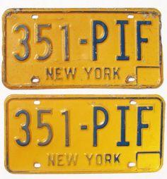 SET 2 VTG NEW YORK LICENSE PLATES Yellow Blue Embossed Metal Matching Pair