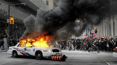 Toronto police car on fire, during the G20 riots.