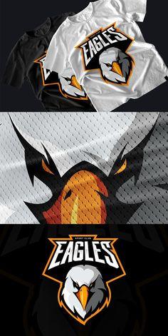 Eagle Maskottchen Sport Logo Design - Logos TS - Health Logo Esport, Typography Logo, Eagle Mascot, Eagle Logo, Mascot Design, Badge Design, Design Logos, E Sport, Sport Style