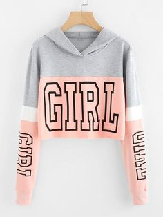 GIRL Print Color Block Women Cropped Sweatshirt Hoody Pullover Blouse Woman Girls Crop Top Streetwear Spring Autumn Shirt 90117 Size S Color RD Komplette Outfits, Teen Fashion Outfits, Outfits For Teens, Trendy Outfits, Fasion, Girl Fashion, Womens Fashion, Fresh Outfits, Cheap Fashion