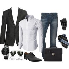 black blazer. crisp white oxford. jeans. black belt/shoes/watch/briefcase. striped tie. shades. business casual. casual Friday. evening out w/Lauren. classic. style.