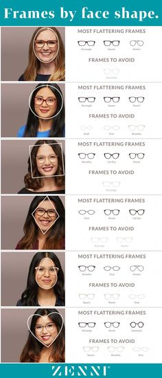 Whether you're a ♥ ,◼️, ♦, or ⚫️, find the most flattering frames for all face shapes! #makeupideasstepbystep