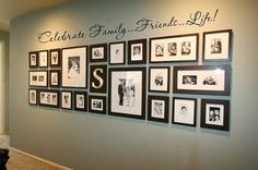 Family. Friends. Life. Stair way landing photo wall.