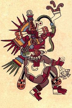 Quetzalcóatl, Codex Borbonicus. 16th century, author unknown. This is the Aztec depiction of the sun god. Quetzal, from quetzalli (meaning 'beautiful') and cóatl (meaning 'serpent') In Aztec culture, he was brother to Tezcatlipoca. In Toltec culture, they were rivals.