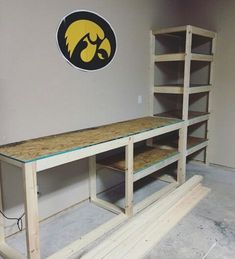 garage storage shelving and work table