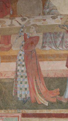 """Cappella del castello di Poppi. Pareti affrescate con """"Storie del Vangelo"""" da Taddeo Gaddi (1300-1366), allievo di Giotto, tra il 1330 ed il 1336."""