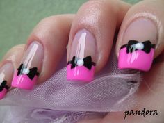 Pretty pink french tips with black bow