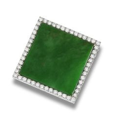 A jadeite and diamond pendant  The bright green square jadeite plaque of very good translucency, measuring approximately 33.7 x 33.6 x 2.5mm, within a brilliant-cut diamond surround, mounted in 18k white gold, the diamonds estimated to weigh approximately 3.10 carats in total, pendant length 4.0cm