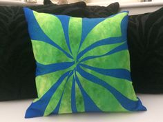 Another view #cushion Leaves on #blue #green