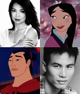 Voice actors for Mulan (Ming-Na Wen) and Shang (B. D. Wong)...but let us not forget Donny Osmond as the singing voice for Shang :)