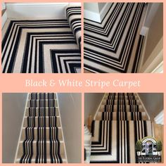Client: Private Residence In Central London Brief: To supply & install black & white stripe carpet to stairs and landings Striped Carpet Stairs, Striped Carpets, Black And White Carpet, Black White Stripes, Staircase Carpet Runner, Stair Landing, House Stairs, Stair Runners, Stairways