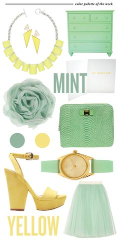 Yellow and mint