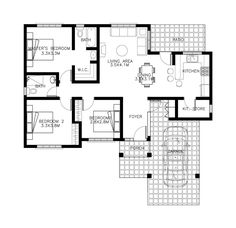 Making sure that you are not stuck on one design and one concept, this house design is another scheme for Small House Design Series: With hip roof style roofing this house offers simpl… Bungalow House Plans, Bungalow House Design, House Floor Plans, Small House Images, Small House Plans, Simple House Design, Modern House Design, House Design Drawing, Sketch Design