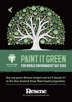 Buy any Resene 60ml green testpot at your local Resene owned ColorShop, NZ, and we'll donate $1 to Trees that Count and help them plant more native trees right here in NZ! World Environment Day, Green Trees, Stone Art, City Photo, Count, Artsy, How To Apply, Watercolour, Scrapbook