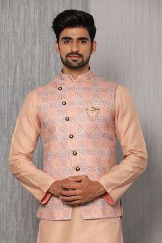 Adorn your kurta pajama with a jacket. Manyavar brings you a range of Modi jackets & Nehru jackets online which give your traditional attire a royal look. Sherwani For Men Wedding, Sherwani Groom, Wedding Dress Men, Nehru Jackets, Linen Jackets, Indian Jackets, Modi Jacket, Designer Suits For Men, Indian Men Fashion