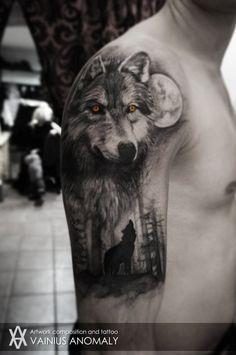 Entendez-vous les hurlements de ces tatouages hyper stylés de loups ?