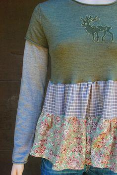 REVIVAL Boho Shabby Chic Fall Sweater, Junk Gypsy, Country Girl, Farm Girl