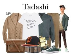 """Tadashi"" by megan-vanwinkle ❤ liked on Polyvore featuring Tadashi, Brooks Brothers, Diesel, Brioni, Topman, The Cambridge Satchel Company, New Era, Converse, men's fashion and menswear"