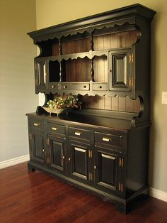 Black farmhouse hutch with brass bin pulls. Refinished painted furniture. Love!