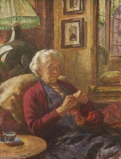 "*The Housekeeper Arnold Mason (1885-1945)*  Reminds me of ""Granny"".  She always knitted and her younger years  co-owned a yarn shop with her sister -in-law."