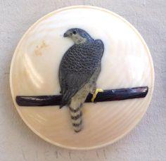 Antique 19thC Japanese Meiji Cow Bone with Bird Shibayama Button