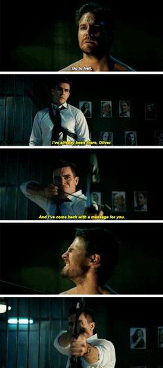 """Confess, or you get the same three arrows."" #Arrow #Season5 #5x17"