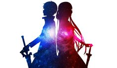 This HD wallpaper is about Sword Art Online, Asuna Yuuki, Kazuto Kirigaya, Kirito (Sword Art Online), Original wallpaper dimensions is file size is Otaku Anime, Manga Anime, Sao Anime, Manga Girl, Anime Girls, Kunst Online, Online Art, Online Anime, Kirito Sword Art Online