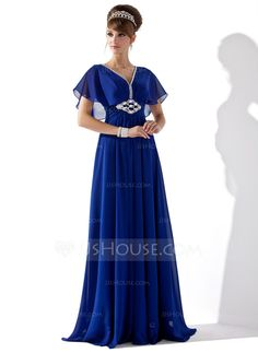 A-Line/Princess V-neck Floor-Length Chiffon Evening Dress With Ruffle Beading (017013417)