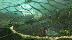 Landscape drawing from the anime of Seirei no Moribito.