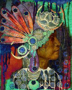 native american headdress art print. $30.00, via Etsy.