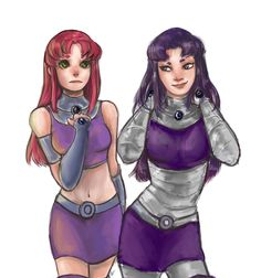 Starfire and her sister, Blackfire Teen Titans Blackfire, Teen Titans Starfire, Robin Starfire, Comic Book Characters, Marvel Characters, Comic Character, Beast Boy, Dc Comics, Raven Cosplay