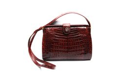 Vintage crocodile leather handbag, burgundy wine red evening bag with shoulder strap and alligator patch, 1970s women's fashion accessory by Aerosvar