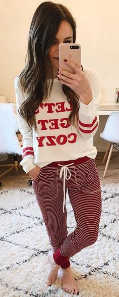 Cozy Outfit Idea Printed Top Plus Red Stripped Pants