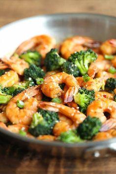 Sauté crevettes et brocoli