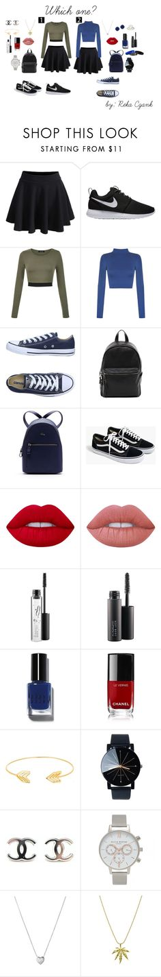 Which one? by reka2003 on Polyvore featuring WearAll, WithChic, Converse, NIKE, J.Crew, Lacoste, French Connection, Links of London, Olivia Burton and Lord & Taylor